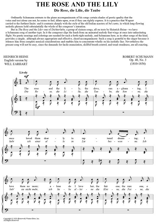 """The Rose And The Lily (Die Rose, die lilie, die Taube)"" Sheet Music: www.onlinesheetmusic.com"
