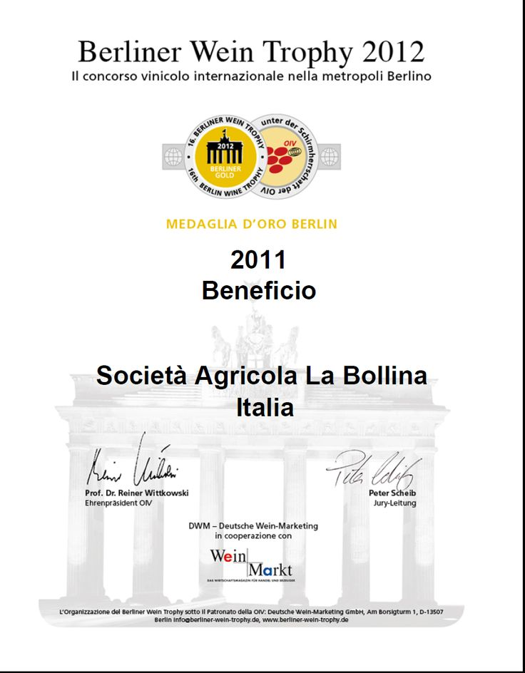 Gold medal at Berliner Wein trophy  -Germany for our  BENEFICIO