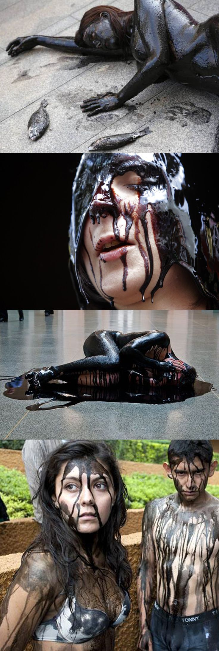 Activists protesting against oil spills, oil drilling and climate change can make a bold statement by using their bodies as a canvas, covered in fake oil, to remind people just how dirty crude oil really is. These were protests against Cairn Energy drilling in the Gulf of Valencia, BP funding of Tate Museum, and Canadian tar sands oil in Europe.