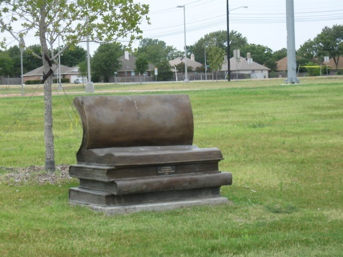 A bench outside of the nearest public library...somewhere in texas