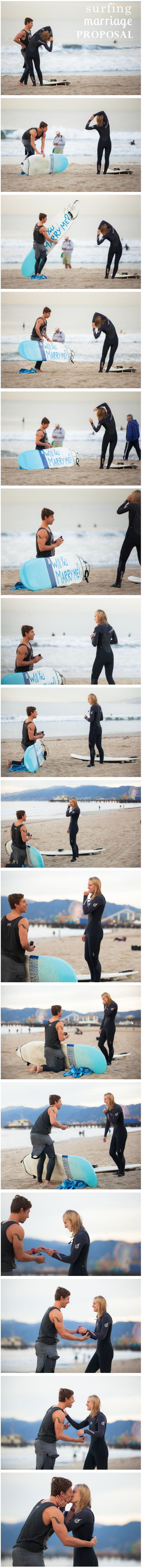 Surfboard Proposal. http://howheasked.com/surfing-marriage-proposal - Find or Create the ring of your dreams at Agape Diamonds- www.diamondslabcreated.com