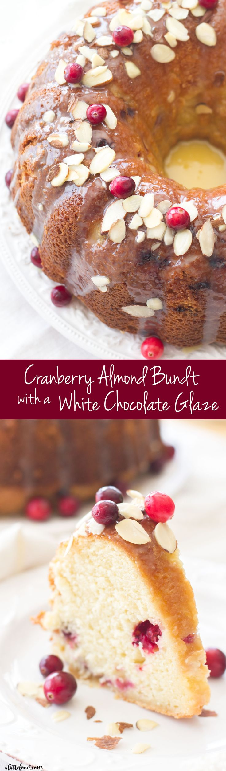 This easy cranberry almond bundt cake is made with fresh cranberries and topped with a white chocolate glaze! The sweet almond flavor pairs perfectly with the tart cranberry flavor. A fantastic Christmas dessert!