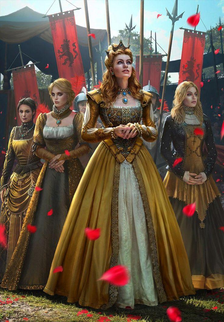 Maddie, Clair, Érika e Rose sendo coroada como rainha consorte