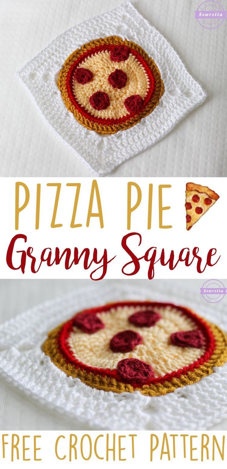 Who wouldn't want a pizza granny square crochet pattern?