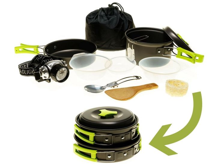 Camping Cookware Mess Kit w/LED Headlamp for Backpacking, Hiking, Survival Bug-o #BorntoVenture