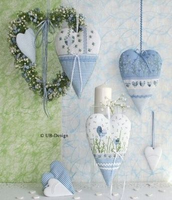 "Ana Rosa - Hearts, Blue Hearts, Blue Gingham Hearts! Yes, 3 ""favorite things!"""