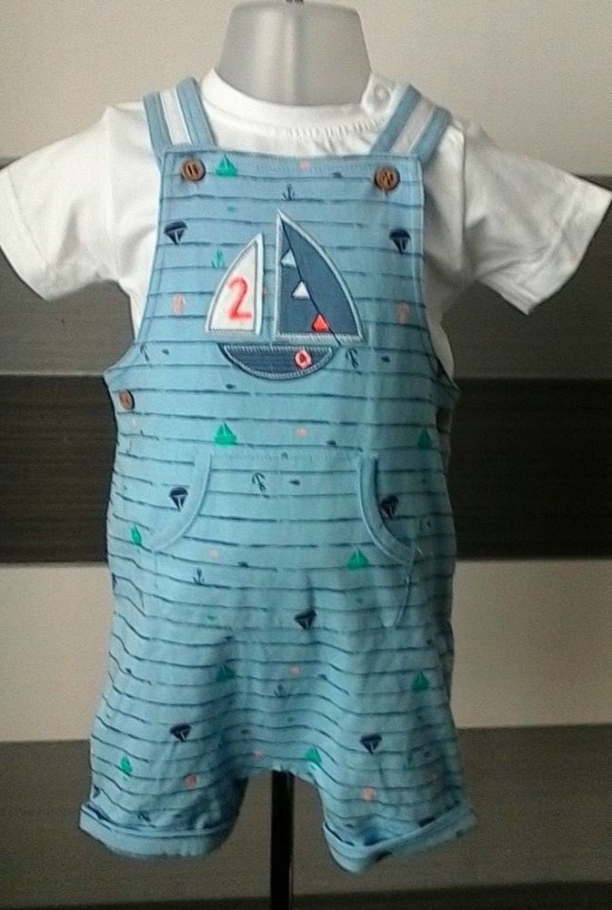 bbbc3fe13226 Baby Boys T-shirt and Short Dungaree Set 9-12 months Nutmeg #nutmeg ...
