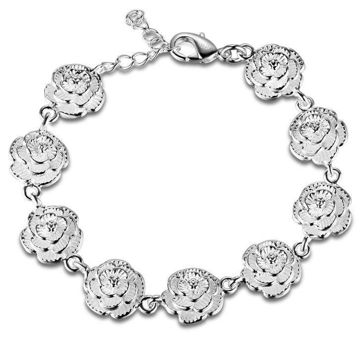 Строка очаровательная роза Оптовая серебрение браслет, посеребренные ювелирные изделия/XEVESAXH WFSSMAZLкупить в магазине yinfen guo's storeнаAliExpress