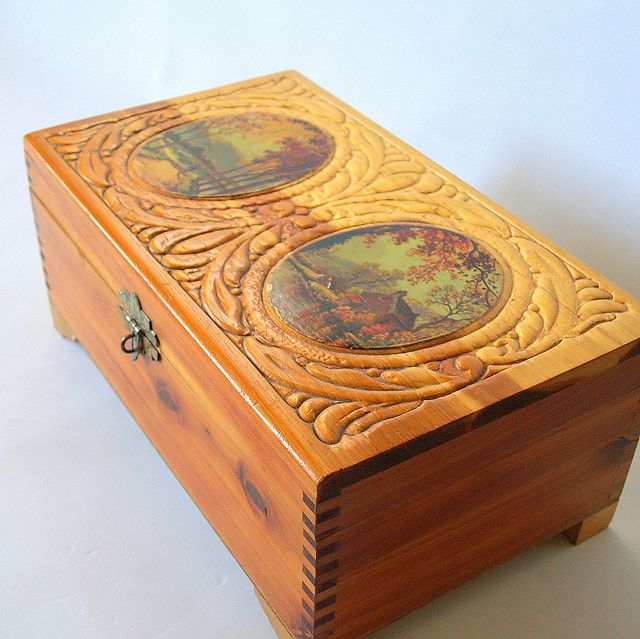 vintage jewelry box with mirror - Google Search