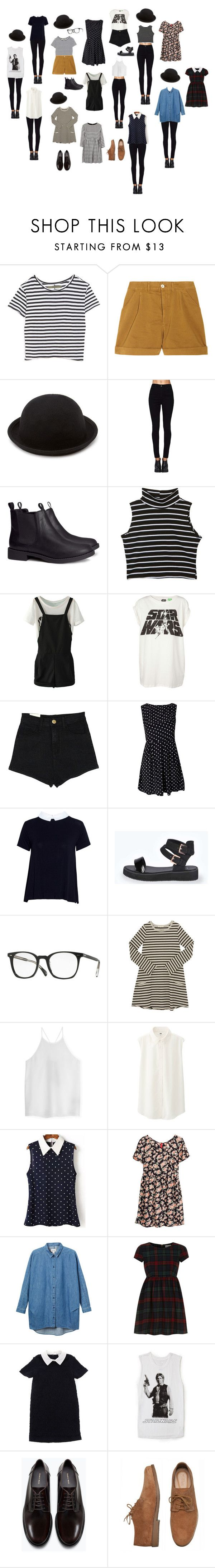 """Bowler Hat Outfits"" by jessi-jonasze ❤ liked on Polyvore featuring Enza Costa, Levi's Made & Crafted, Forever 21, H&M, Pull&Bear, AX Paris, Boohoo, Oliver Peoples, TIBI and Uniqlo"