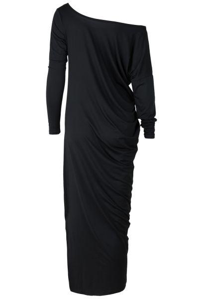 One Shoulder Ruffled Slit Maxi Dress novashe.com