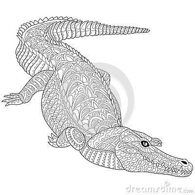 Resultado de imagen para alligator tattoo zentangle