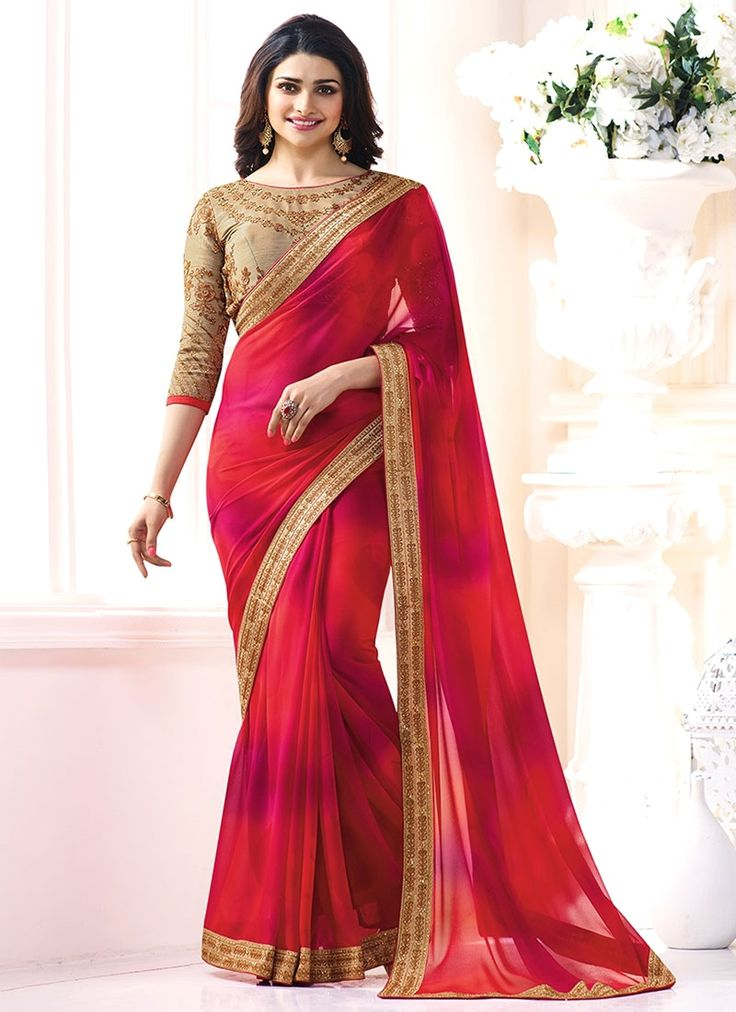 We have tempting and eye catching designs of latest bollywood saree. Praiseworthy Prachi Desai red faux georgette shaded saree. Free shipping worldwide.
