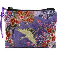 Porte monnaie violine en tissu japonais grues, mini pochette zippée, petit étui à barrettes