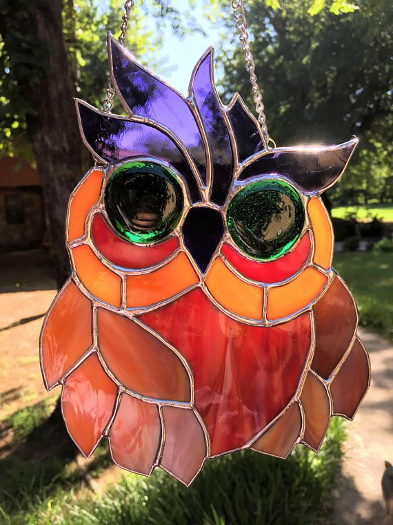 Contemporary Stained Glass Panel Suncatcher Owl PLG105