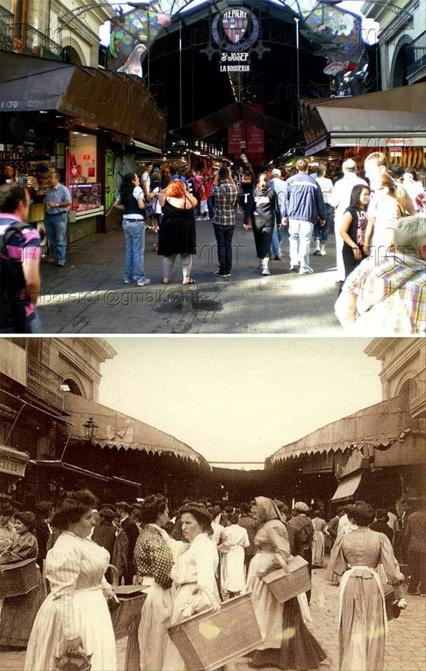 La Boqueria market on Las Ramblas, Barcelona #ThenAndNow
