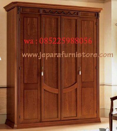 Lemari Pakaian 4 Pintu Jati Minimalis model terbaru harga murah ini terbuat dari kayu jati dengan finising natural yang dikerjakan oleh tukang handal