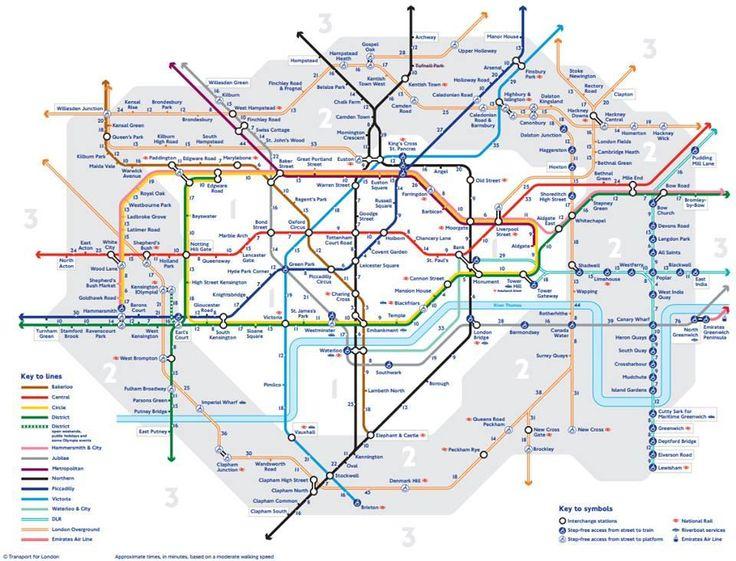 carte des stations de métro de londres et équivalence en temps de marche