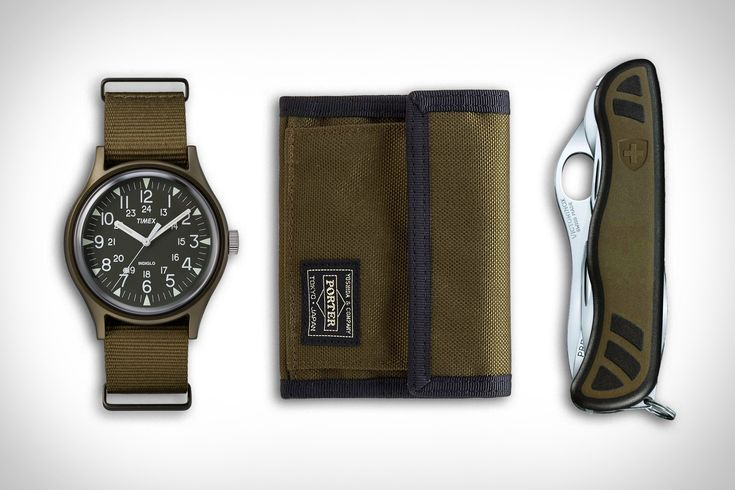 Timex MK1 Aluminum Watch ($79). Neighborhood x Porter Wallet ($135). Victorinox Swiss Soldier'd Knife ($55). Presented by Timex....