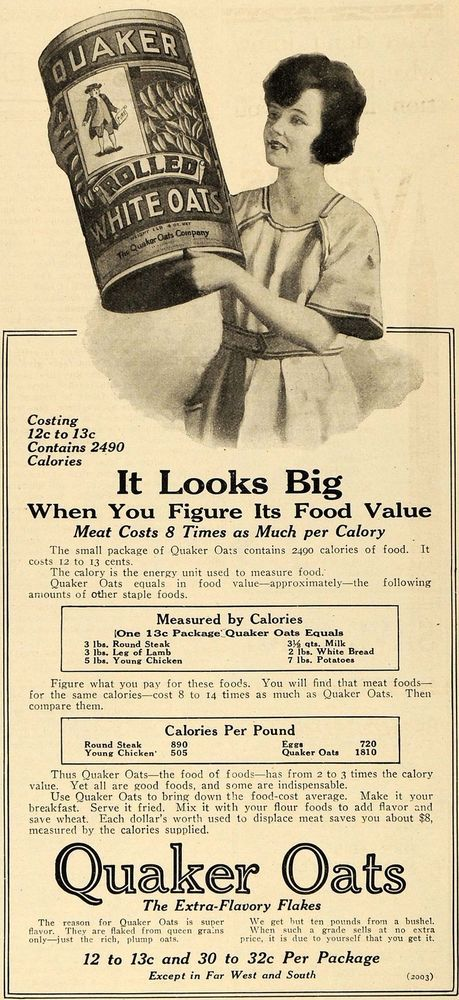 1918 Ad Quaker Rolled Oats Calorie Chart Food Value - ORIGINAL ADVERTISING TIN2