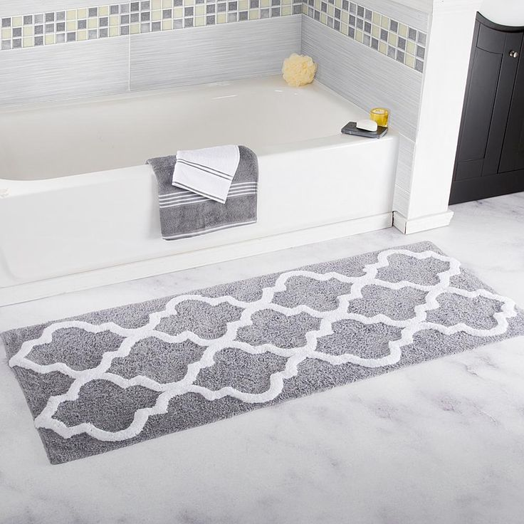 Trademark Global Lavish Home 100% Cotton Trellis Bathroom Mat - 2'x 5' - Metallic