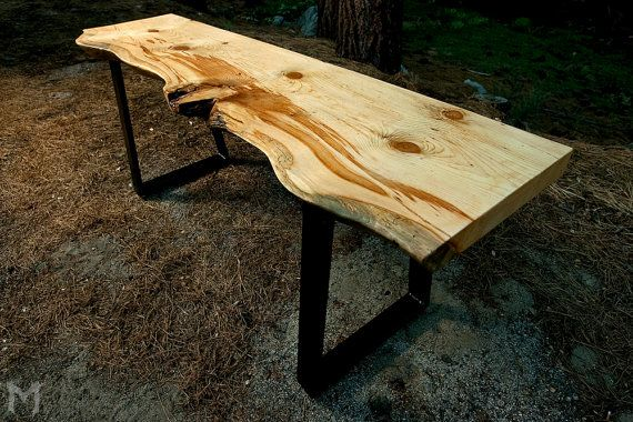Live edge modern console table lodgepole slab by mezworks for Live edge wood slabs new york