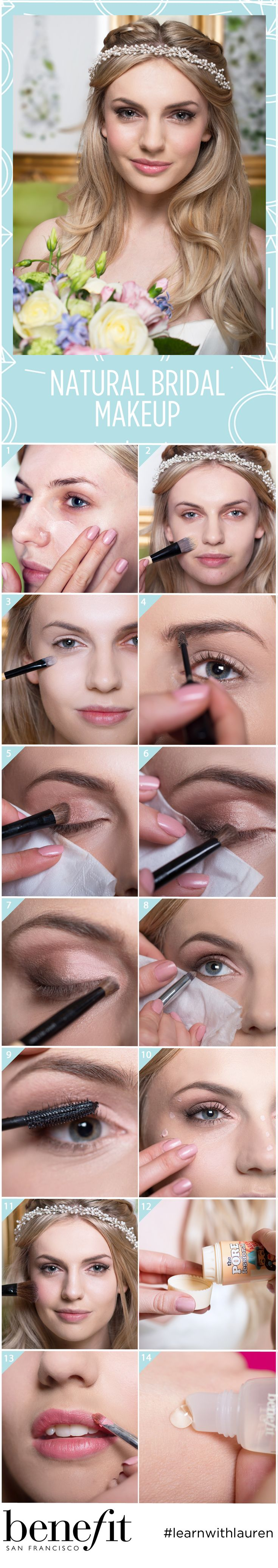 Let your natural beauty dazzle all day on your wedding day, with fluttery eye lashes, big beautiful eyes and a natural glossy lip. It's not as difficult as it looks to create the bridal makeup you desire! See the full wedding makeup tutorial at blog.benefitcosmetics.co.uk