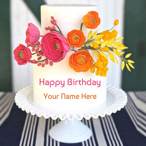 Beautiful Colourful Floral Birthday Cake With Your NameDouble