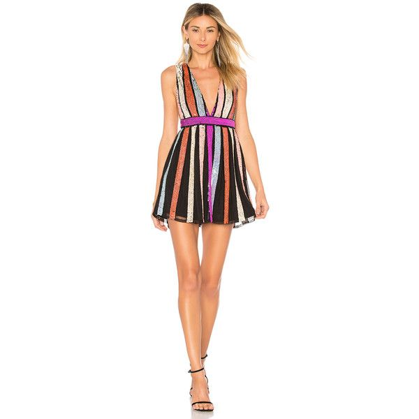 X by NBD Yaya Dress (2720 MAD) ❤ liked on Polyvore featuring dresses, striped cocktail dress, stripe dresses, sequined dress, red dress and red cocktail dress