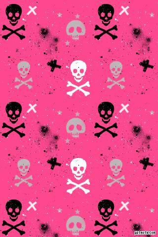 Paint Splatter Skulls and Crossbones on Hot Pink iPhone Wallpaper