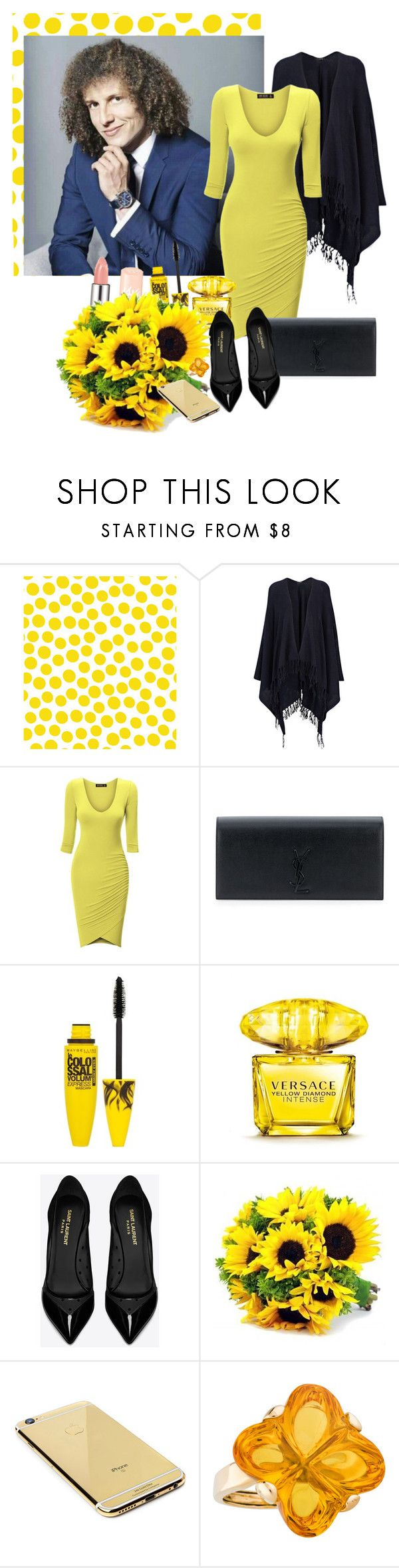 """""""David Luiz"""" by bokilly91 ❤ liked on Polyvore featuring Jennifer Paganelli, Joseph, Yves Saint Laurent, Maybelline, Versace, Goldgenie and Baccarat"""