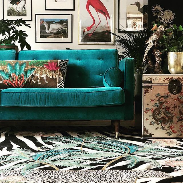 Teal Velvet Sofa And Gallery Wall With Brightly Coloured Cushions Tealsofa Quirky Home Decor Decor Eclectic Decor