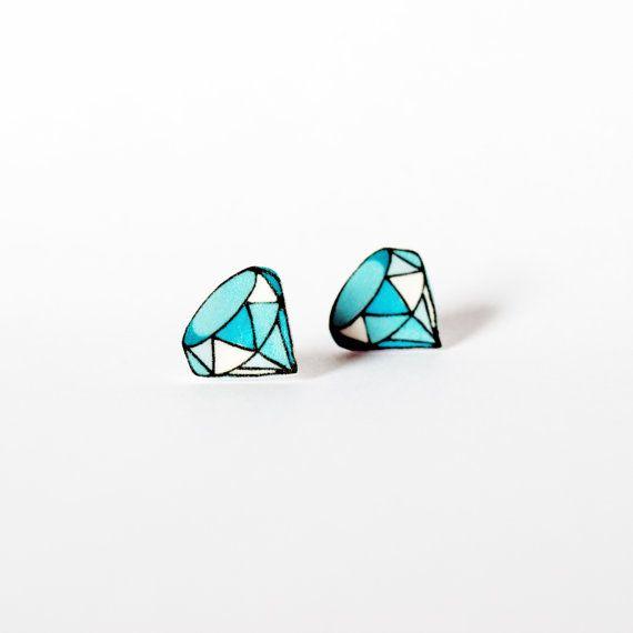 Blue Diamond Stud Earrings: illustrated gemstone charm earrings for bling…