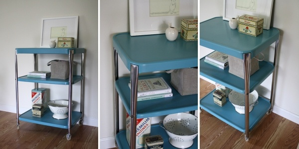 Before & After: Metal Kitchen Cart   I have two of these carts that I need to find a use for.