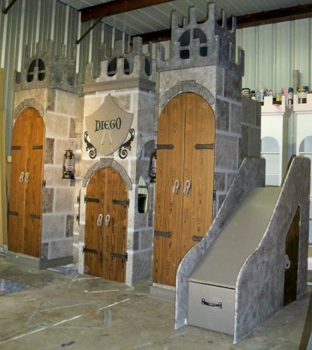 Boys castle bed with slide woodworking projects plans for Castle bed plans