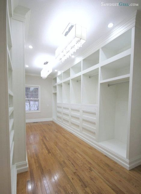 Sawdust Girl master closet- custom build with beautiful lights
