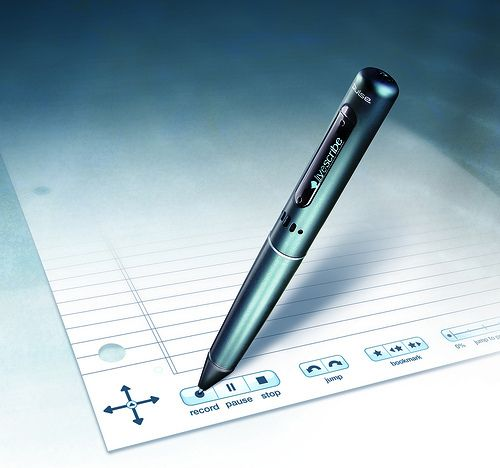 WRITING This is a livescribe pen. It allows students to record what they want to say. The pen then writes what they have recorded.