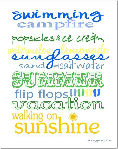 Summer Printable for scrapbook/cards