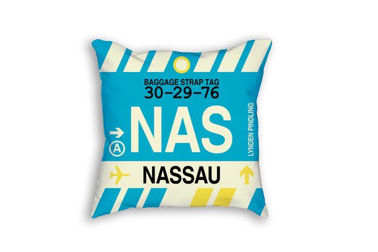 NAS Nassau Airport Code Baggage Tag Pillow