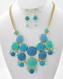 Hailey Gold Tone Turquoise Acrylic Charm Chunky Necklace Set