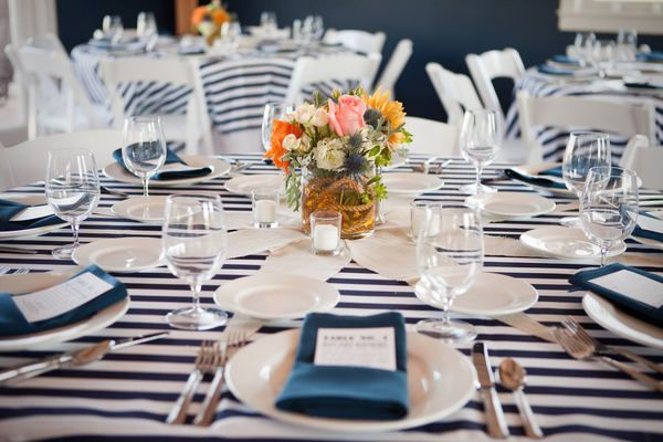 Nautical, oh how I love the stripes, not so much the Centerpiece