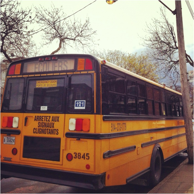 School bus parked in the street in Villeray, Montreal.