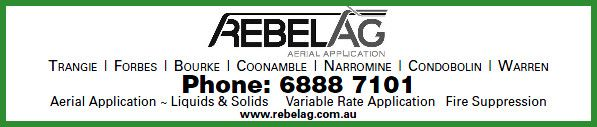 Rebel Ag has served the agricultural community in Central Western NSW South Wales for over thirty years. Competitive pricing structures.  * Aerial Application of Liquids and Solids * Aerial Application of Foliar Fertiliser * Aerial Application of Mouse and Snail Baits * Aerial Application of Seed (e.g: Canola) * Aerial Fire Suppression * Aerial Locust Control Phone Rebel Ag on 6888 7101 http://www.rebelag.com.au