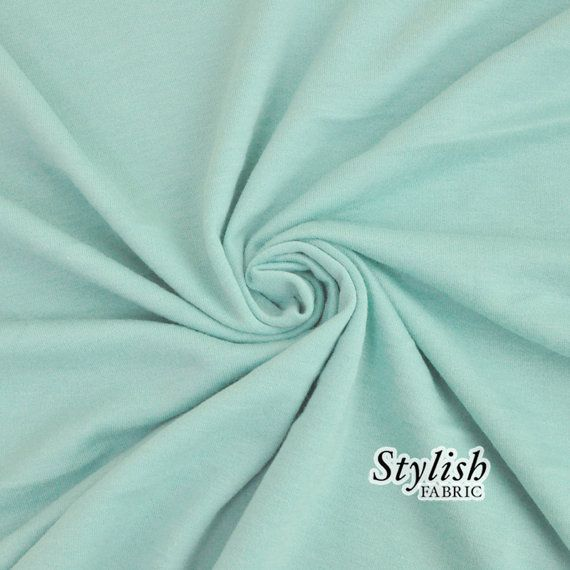 Seafoam Pale French Terry Fabric by the yard by StylishFabric