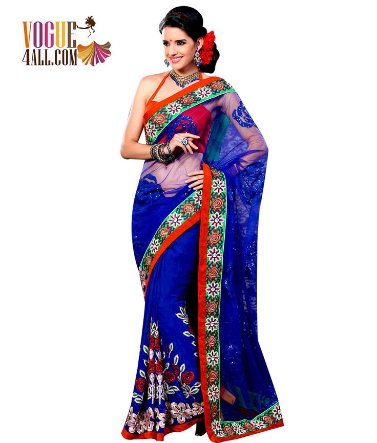## GORGEOUS ROYAL BLUE SAREE WITH SOLID SEQUENCE ##
