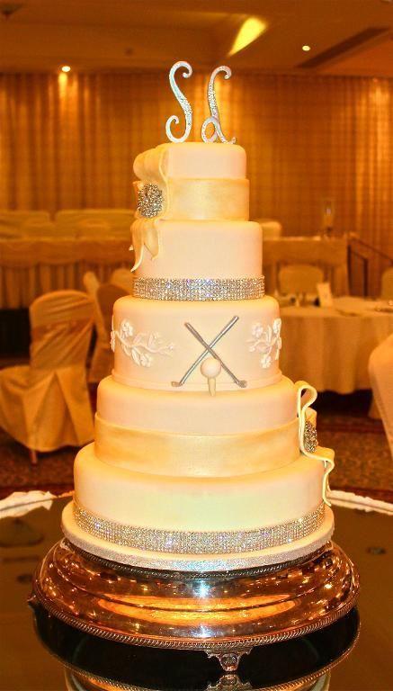 Bling & Bow Monogram Ivory Wedding Cake - via @Craftsy