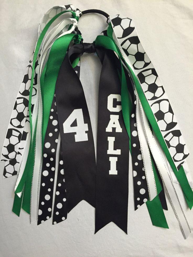 Soccer Hair Ribbons, Custom Soccer Sport Hair Ribbons, Soccer Hair Bows, Basketball Ribbons, Softball Ribbons by SunshineandBling on Etsy