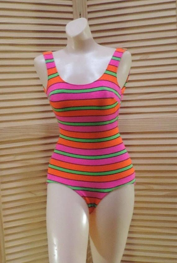 Bombshell Swimsuit Bright Striped One Piece Bathing Suit Beach