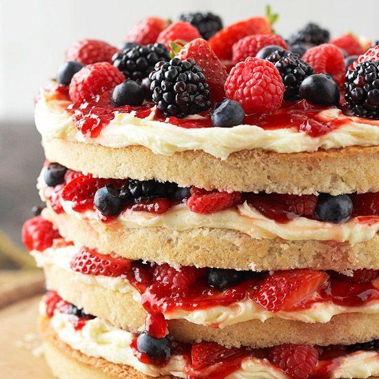 Vanilla Cake with Buttercream, Berries & Jam