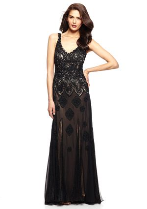 On ideeli: SUE WONG Double V-Neck Gown with Lace Pleat Inserts